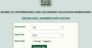 Onlie Roll No Slips - Matric SSC Part II, Class 10th, 9th 2019 Annual Exam - BISE Rawalpindi Board, Lahore Board, Multan Board, Gujranwala, FSD Board Private and Regular Students-min