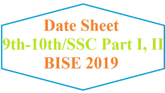 Matric (9th/10th) Classes Date Sheet Annual 2019 – Punjab Boards