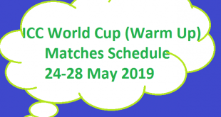 ICC Cricket World Cup Warm Up Matches Schedule Fixture 24 to 28 May 2019 - Complete All Teams