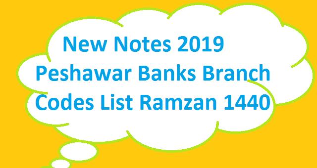 New Notes 2019 - Peshawar Banks Branch Codes List Ramzan 1440 - SBP 8877 SMS Service